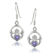 Journee Collection Sterling Silver Gemstone Claddagh Earrings