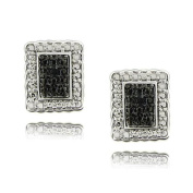 Finesque Sterling Silver Black Diamond Accent Rectangle Earrings
