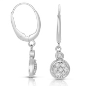 14k White Gold 1/3ct TDW Pave Circle Diamond Drop Earring