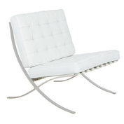 Bellefonte Style Modern Leather Pavilion Chair in White