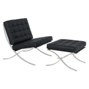 Bellefonte Style Modern Leather Pavilion Chair & Ottoman in Black