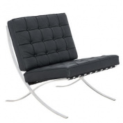 Bellefonte Style Modern Leather Pavilion Chair in Black