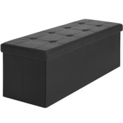 Faux Leather Folding Storage Ottoman Large Black Bench Foot Rest Stool Seat
