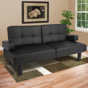Leather Faux Fold Down Futon Sofa Bed Couch Sleeper Furniture Lounge Convertible