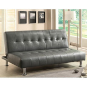 Bulle Grey Leatherette Finish Futon Sofa Bed