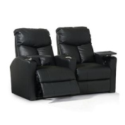 Octane Bolt XS400 Row of Two Straight, Power Recline, Black Premium Leather Home Theatre Seating