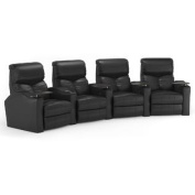 Octane Bolt XS400 Row of Four Curved, Power Recline, Black Premium Leather Home Theatre Seating