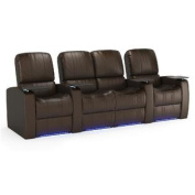 Octane Blaze XL900 Row of Four Seats Straight with Middle Loveseat, Power Recline, Brown Premium Leather Home Theatre Seating