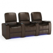 Octane Blaze XL900 Row of Three Seats Straight, Power Recline, Brown Premium Leather Home Theatre Seating