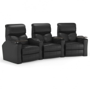 Octane Bolt XS400 Row of Three Curved, Power Recline, Black Premium Leather Home Theatre Seating