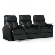 Octane Bolt XS400 Row of Three Straight, Power Recline, Black Bonded Leather Home Theatre Seating