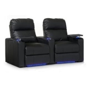 Octane Turbo XL700 Row of Two Straight, Power Recline, Black Premium Leather Home Theatre Seating