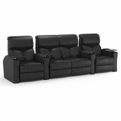Octane Bolt XS400 Row of Four Straight with Middle Loveseat, Power Recline, Black Premium Leather Home Theatre Seating
