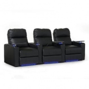 Octane Turbo XL700 Row of Three Straight, Power Recline, Black Bonded Leather Home Theatre Seating