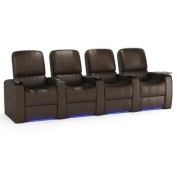 Octane Blaze XL900 Row of Four Seats Straight, Power Recline, Brown Premium Leather Home Theatre Seating