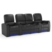Octane Blaze XL900 Row of Four Seats Straight with Middle Loveseat , Power Recline, Black Premium Leather Home Theatre Seating
