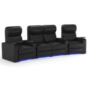 Octane Turbo XL700 Row of Four Curved with Middle Loveseat, Manual Recline, Black Bonded Leather Home Theatre Seating