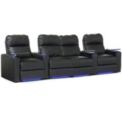 Octane Turbo XL700 Row of Four Straight with Middle Loveseat, Manual Recline, Black Bonded Leather Home Theatre Seating