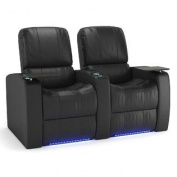 Octane Blaze XL900 Row of Two Seats Straight, Power Recline, Black Premium Leather Home Theatre Seating