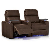 Octane Turbo XL700 Row of Two Straight, Power Recline, Brown Premium Leather Home Theatre Seating