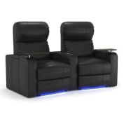 Octane Turbo XL700 Row of Two Curved, Manual Recline, Black Bonded Leather Home Theatre Seating