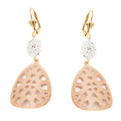 Peermont Jewellery 18k Yellow and Rose Gold and Silver Heart Cutout Teardrop Earrings