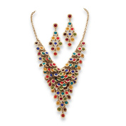 PalmBeach Multicolor or White Crystal Two-Piece Necklace and Earrings Set in Yellow Gold Tone Bold Fashion