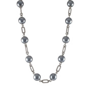 Rhodium Finish Grey Faux Pearl Link Necklace