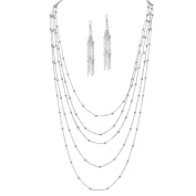 PalmBeach 2 Piece Station Necklace and Earrings Set in Silvertone Tailored