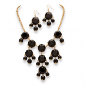 PalmBeach 2 Piece Black or Aqua Bubble Beaded Necklace and Earrings Set in Yellow Gold Tone Bold Fashion