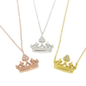 Eternally Haute Sterling Silver Pave-set CZ Mary Crown Necklace
