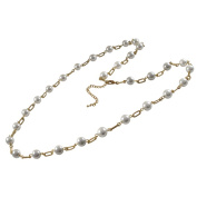 Gold Finish White Faux Pearl Link Necklace
