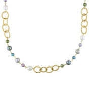 M by Miadora Yellow-Plated Brass FW Multi-Coloured Pearl Twisted Link Necklace