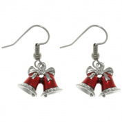 CGC Pewter Red Holiday Bells Earrings