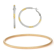 Isla Simone- TWO TONE TEXTURED HOOP - 40MM - GOLD TEXTURED BANGLE