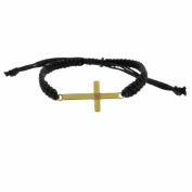 Finesque 18k Gold over Silver Diamond Accent Cross Braided String Bracelet
