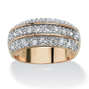 PalmBeach 1.68 TCW Round Cubic Zirconia Triple Row Anniversary Ring in 14k Gold-Plated Classic CZ