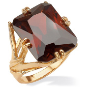 PalmBeach 25.90 TCW Emerald-Cut Red Cubic Zirconia 14k Gold-Plated Branch Ring Colour Fun