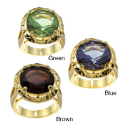 Kate Bissett 14k Gold Overlay Cubic Zirconia Solitaire Cocktail Ring