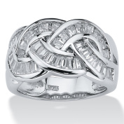 PalmBeach 1.80 TCW Baguette Cut Cubic Zirconia Channel-Set Ring in Platinum over .925 Sterling Silver Classic CZ