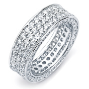 Sterling Silver Cubic Zirconia 3-row Engagement-style Eternity Band