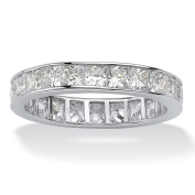 PalmBeach 5.29 TCW Princess-Cut Cubic Zirconia Platinum over Sterling Silver Channel-Set Eternity Band Classic CZ