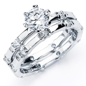 Oliveti Highly Polished Sterling Silver Round Cubic Zirconia Bridal-style Ring Set