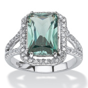 PalmBeach Platinum over Sterling Silver Emerald-cut Green Spinel and Cubic Zirconia Halo Cocktail Ring