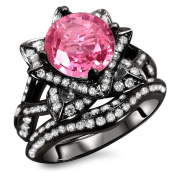 Noori 14k Black Gold 2 3/4ct Certified Pink Sapphire and Diamond Ring Set