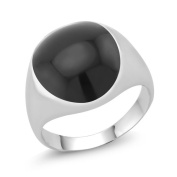 White Goldplated Men's Oval Onyx Ring