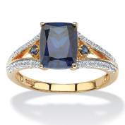 PalmBeach 18k Yellow Gold over Sterling Silver 2ct Cushion-cut Created Blue Sapphire and Cubic Zirconia Ring