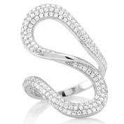 Sterling Silver Cubic Zirconia Micropave Serpentine Ring