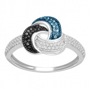 De Couer Sterling Silver 1/4ct TDW Blue, Black and White Diamond Ring
