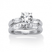 PalmBeach 3.15 TCW Cubic Zirconia Platinum over Sterling Silver Squared Bridal Engagement Wedding Band Set Classic CZ